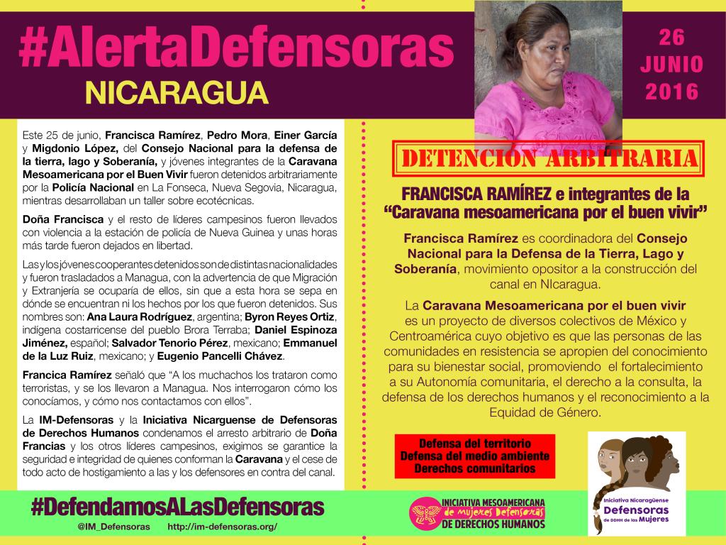 AlertaDefensoras Francisca Ramírez 26062016 DEF nicaragua